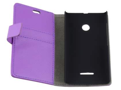 Nokia Lumia 435/532 Slim Synthetic Leather Wallet Case with Stand - Purple