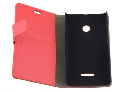 Slim Synthetic Leather Wallet Case with Stand for Nokia Lumia 435/532 - Red