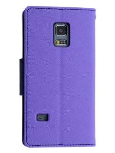 Mercury Colour Fancy Diary Case with Stand for Samsung Galaxy S5 mini - Purple/Navy
