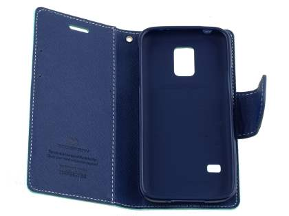 Mercury Goospery Colour Fancy Diary Case with Stand for Samsung Galaxy S5 mini - Mint/Navy