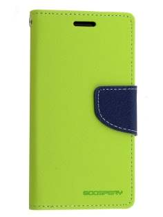 Mercury Goospery Colour Fancy Diary Case with Stand for Samsung Galaxy S5 mini - Lime/Navy Leather Wallet Case