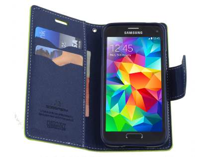 Mercury Colour Fancy Diary Case with Stand for Samsung Galaxy S5 mini - Lime/Navy