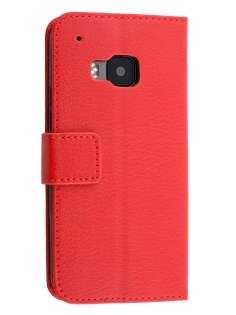 Slim Synthetic Leather Wallet Case with Stand for HTC One M9 - Red Leather Wallet Case