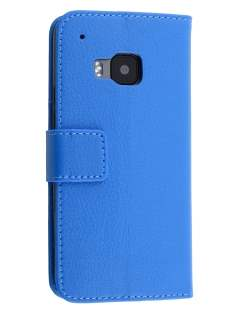 Slim Synthetic Leather Wallet Case with Stand for HTC One M9 - Blue Leather Wallet Case