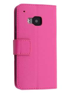 Slim Synthetic Leather Wallet Case with Stand for HTC One M9 - Pink Leather Wallet Case