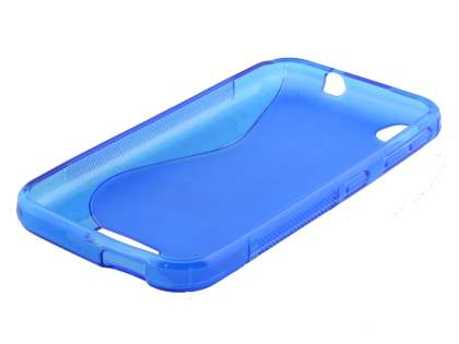 HTC Desire 320 Wave Case - Frosted Blue/Blue