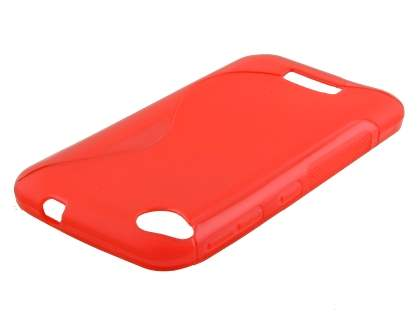 Wave Case for HTC Desire 320 - Frosted Red/Red Soft Cover