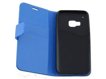 HTC One M9 Slim Synthetic Leather Wallet Case with Stand - Blue