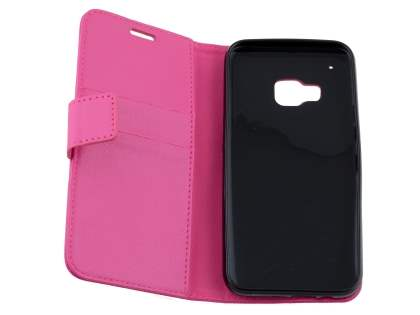 HTC One M9 Slim Synthetic Leather Wallet Case with Stand - Pink