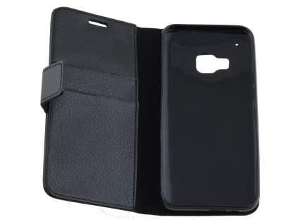Slim Synthetic Leather Wallet Case with Stand for HTC One M9 - Classic Black