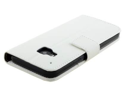 HTC One M9 Slim Synthetic Leather Wallet Case with Stand - Pearl White