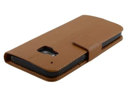 HTC One M9 Slim Synthetic Leather Wallet Case with Stand - Brown