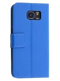 Slim Synthetic Leather Wallet Case with Stand for Samsung Galaxy S6 - Blue