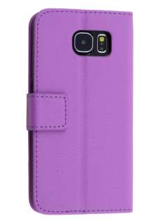 Slim Synthetic Leather Wallet Case with Stand for Samsung Galaxy S6 - Light Purple Leather Wallet Case