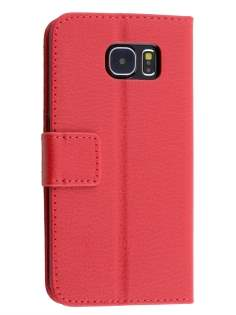 Slim Synthetic Leather Wallet Case with Stand for Samsung Galaxy S6 - Red Leather Wallet Case