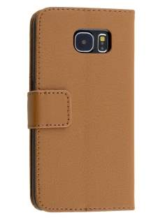 Slim Synthetic Leather Wallet Case with Stand for Samsung Galaxy S6 - Brown