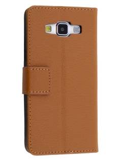 Slim Synthetic Leather Wallet Case with Stand for Samsung Galaxy A5 (2014) - Brown Leather Wallet Case