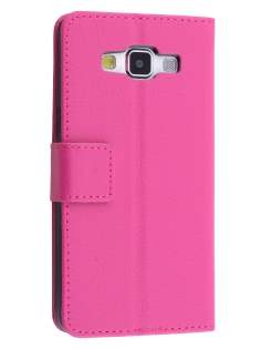 Slim Synthetic Leather Wallet Case with Stand for Samsung Galaxy A5 (2014) - Pink Leather Wallet Case