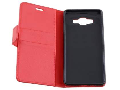 Slim Synthetic Leather Wallet Case with Stand for Samsung Galaxy A5 (2014) - Red