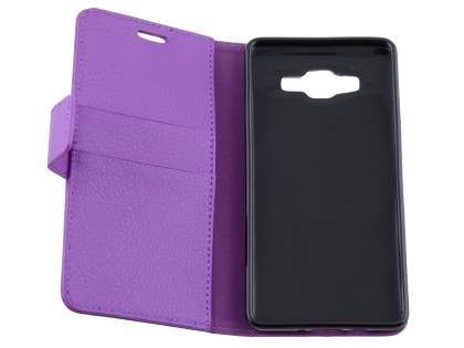 Samsung Galaxy A5 (2014) Slim Synthetic Leather Wallet Case with Stand - Purple
