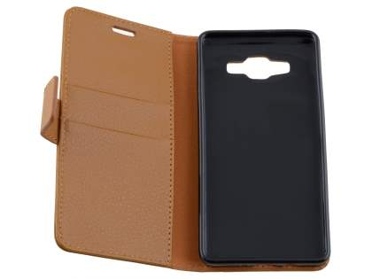 Slim Synthetic Leather Wallet Case with Stand for Samsung Galaxy A5 (2014) - Brown