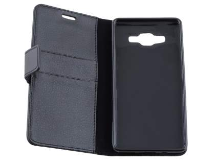 Samsung Galaxy A5 (2014) Slim Synthetic Leather Wallet Case with Stand - Classic Black