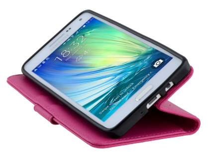 Samsung Galaxy A5 (2014) Slim Synthetic Leather Wallet Case with Stand - Pink