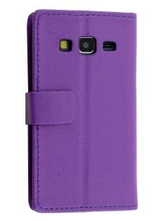 Slim Synthetic Leather Wallet Case with Stand for Samsung Galaxy Core Prime - Purple Leather Wallet Case
