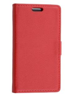 Samsung Galaxy Core Prime Slim Synthetic Leather Wallet Case with Stand - Red