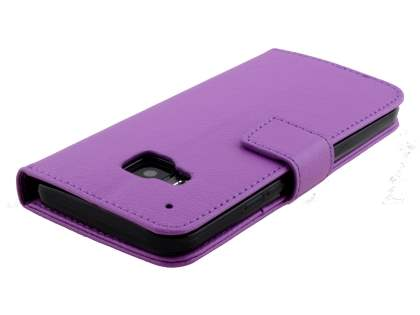 HTC One M9 Slim Synthetic Leather Wallet Case with Stand - Purple