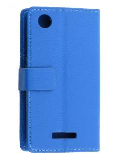 HTC Desire 320 Slim Synthetic Leather Wallet Case with Stand - Blue