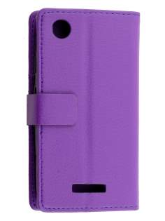 HTC Desire 320 Slim Synthetic Leather Wallet Case with Stand - Purple Leather Wallet Case