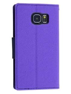 Mercury Goospery Colour Fancy Diary Case with Stand for Samsung Galaxy S6 - Purple/Navy