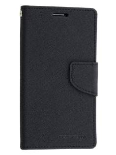 Mercury Colour Fancy Diary Case with Stand for Samsung Galaxy S6 - Classic Black