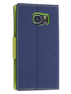 Mercury Colour Fancy Diary Case with Stand for Samsung Galaxy S6 - Navy/Lime