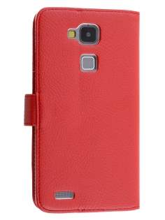 Synthetic Leather Wallet Case with Stand for Huawei Ascend Mate7 - Red Leather Wallet Case
