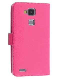 Synthetic Leather Wallet Case with Stand for Huawei Ascend Mate7 - Hot Pink Leather Wallet Case