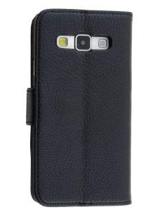 Synthetic Leather Wallet Case with Stand for Samsung Galaxy A3 A300F - Classic Black Leather Wallet Case