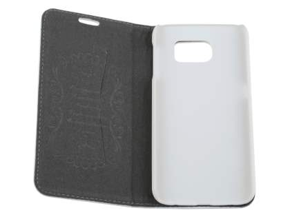 Slim Genuine Textured Leather Wallet Case with Stand for Samsung Galaxy S6 - Pearl White