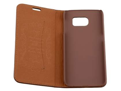 Slim Genuine Textured Leather Wallet Case with Stand for Samsung Galaxy S6 - Dark Brown