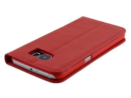 Slim Genuine Textured Leather Wallet Case with Stand for Samsung Galaxy S6 - Red