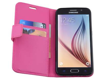 Slim Synthetic Leather Wallet Case with Stand for Samsung Galaxy S6 - Pink