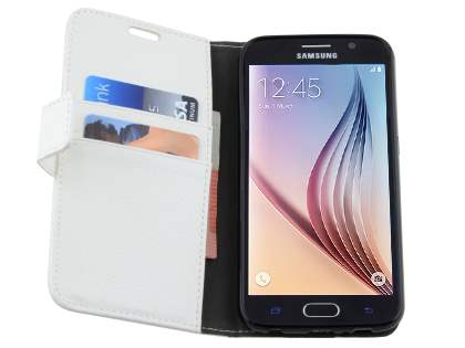 Slim Synthetic Leather Wallet Case with Stand for Samsung Galaxy S6 - Pearl White