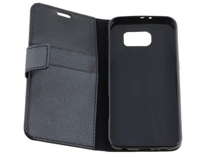 Samsung Galaxy S6 Slim Synthetic Leather Wallet Case with Stand - Classic Black