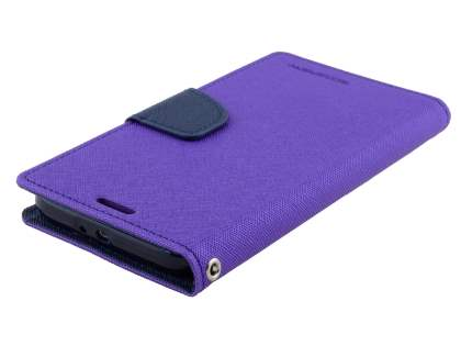 Mercury Colour Fancy Diary Case with Stand for Samsung Galaxy S6 - Purple/Navy