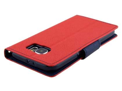 Mercury Goospery Colour Fancy Diary Case with Stand for Samsung Galaxy S6 - Red/Navy