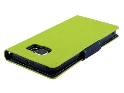 Mercury Colour Fancy Diary Case with Stand for Samsung Galaxy S6 - Lime/Navy