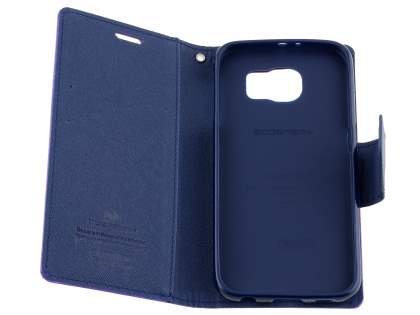 Mercury Colour Fancy Diary Case with Stand for Samsung Galaxy S6 - Mint/Navy