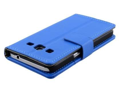 Samsung Galaxy Core Prime Slim Synthetic Leather Wallet Case with Stand - Blue