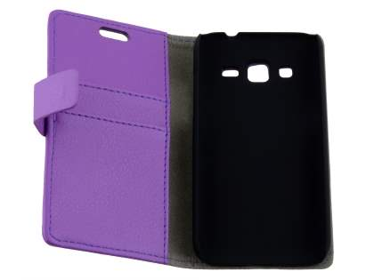 Samsung Galaxy Core Prime Slim Synthetic Leather Wallet Case with Stand - Purple
